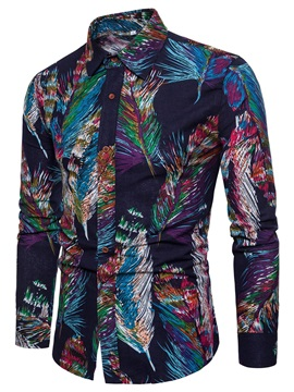 Tidebuy Colorful Feather Print Men's Slim Fit Shirt