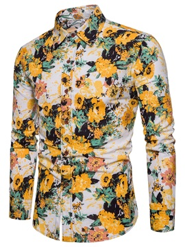 Tidebuy Long Sleeve Floral Print Men's Casual Shirt