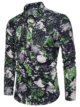 Tidebuy Leaf Printed Lapel Slim Fit Men's Shirt