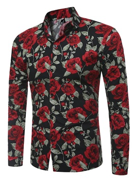 Tidebuy Rose Print Lapel Men's Slim Fit Shirt