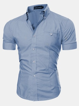 Plain Casual Men's Short Sleeve Shirt