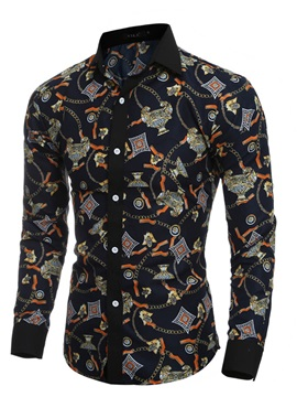 Tidebuy Color Block Unique Print Men's Casual Shirt
