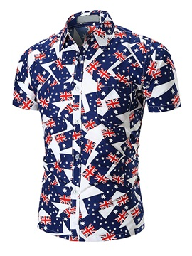 Tidebuy Short Sleeve Color Block Pattern Men's Shirt