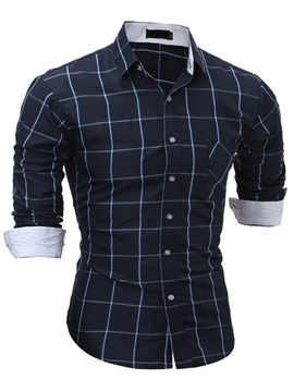 Tidebuy Color Block Plaid Men's Casual Shirt
