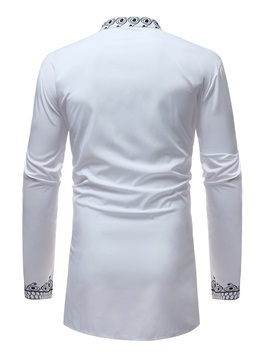 African Dashiki Print White Men's Long Sleeve Shirt