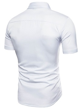 Tidebuy Lapel Hollow Short Sleeve White Men's Shirt