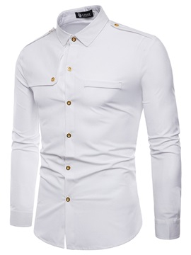 Tidebuy Solid Color Slim Fit Men's Cotton Shirt