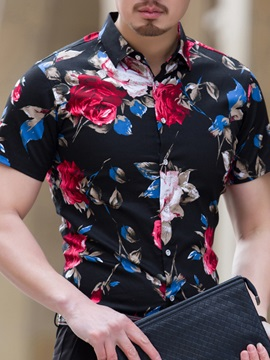 Tidebuy Floral Print Short Sleeve Men's Cotton Shirt