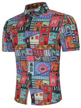 Tidebuy Ethnic Colorful Geometric Men's Vintage Shirt