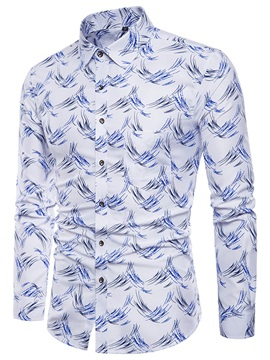 Tidebuy Simple Print Lapel Men's Casual Shirt