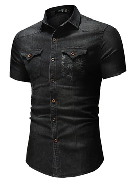 Tidebuy Lapel Slim Fit Men's Short Sleeve Denim Shirt