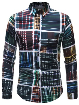 Tidebuy Color Block Pattern Men's Casual Shirt
