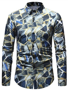 Tidebuy Color Block Geometric Men's Fashion Shirt