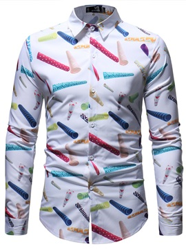 Tidebuy Long Sleeve Cartoon Print Men's Casual Shirt