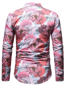 Red Floral Print Men's Casual Shirt
