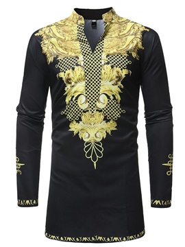 Black Dashiki African Print V-Neck Men's Long Shirt