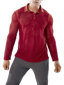 Solid Color See-Through Mesh Men's Shirt