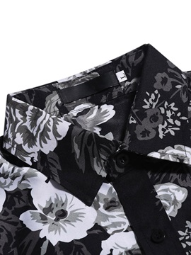 Black Casual Floral Print Men's Shirt