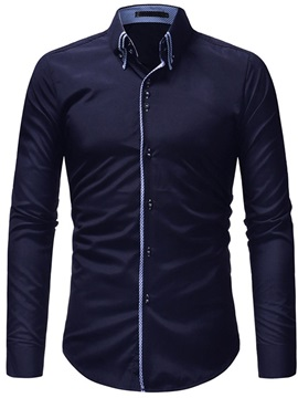 Solid Color Single-Breasted Men's Casual Shirt
