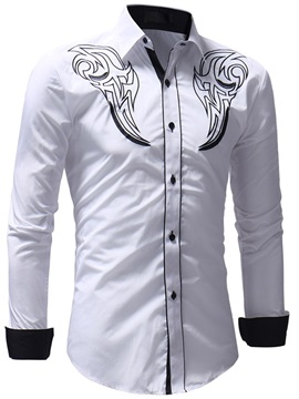 Lapel Long Sleeve Print Men's Casual Shirt