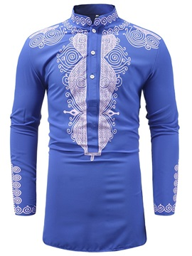 Stand Collar Dashiki Print Men's Casual Shirt