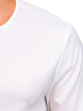 Double-Breasted Plain Men's Round Neck Shirt
