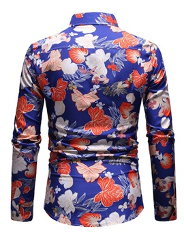 Lapel Floral Print Men's Fashion Shirt