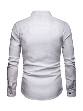 Stand Collar Plain Single-Breasted Men's Shirt
