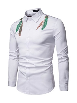 Simple Embroidery Lapel Men's Casual Shirt