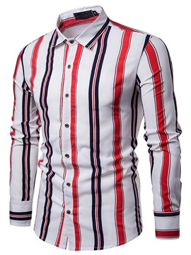 Stripe Casual Lapel Single-Breasted Men's Shirt