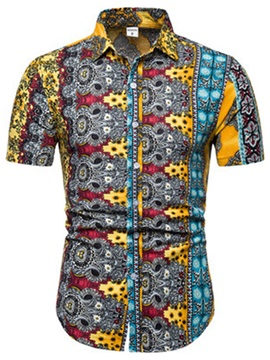 Ethnic Floral Lapel Print Short Sleeve Men
