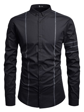 Plain Button Down Lapel Slim Men's Shirt