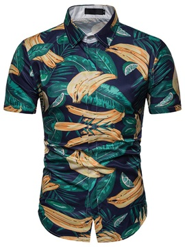 Summer Print Color Block Short Sleeve Men's Shirt