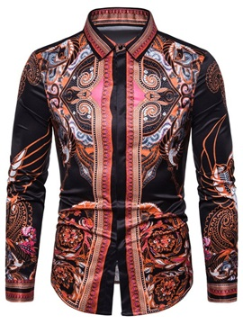 Ethnic Print Lapel Floral Single-Breasted Men