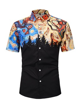 Fashion Color Block Print Short Sleeve Men