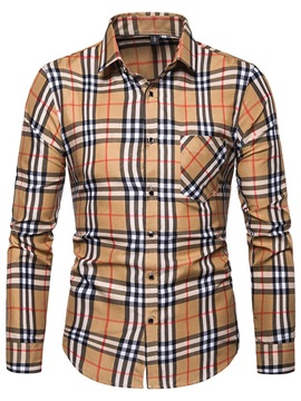 Color Block Plaid Casual Men's Shirt