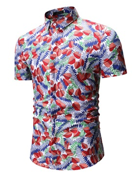 Plant Lapel Print Casual Single-Breasted Men's Shirt