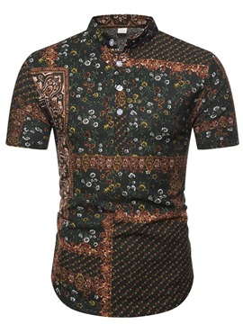 Vintage Floral Print Short Sleeve Men's Shirt