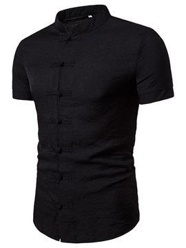 Stand Collar Plain Casual Single-Breasted Men's Shirt