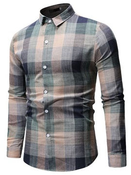 Lapel Plaid Casual Button Single-Breasted Men's Shirt