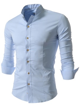 Plain Slim Stand Collar Men's Dress Shirt