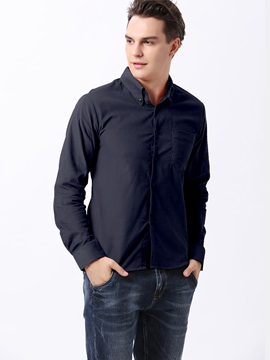 Solid Color Single-Breasted Long Sleeve Men's Shirt
