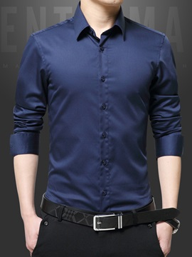 Slim Fit Solid Color Men's Dress Shirt