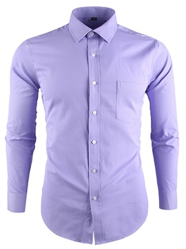 Lapel Single-Breasted Slim Men's Dress Shirt