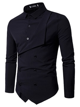 Lapel Plain Asymmetric Men's Stylish Shirt