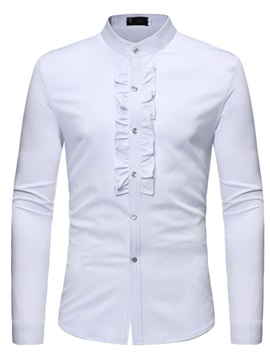 Tidebuy Plain Stand Collar Men's Dress Shirt