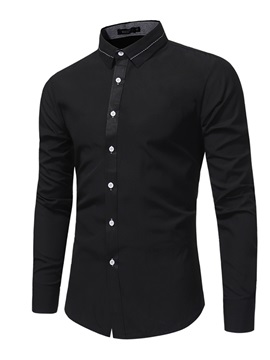 Tidebuy Plain Lapel Slim Fit Men's Dress Shirts