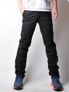 Solid Color Straight Slim Full Length Pants