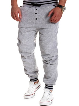 Loose Button Fly Drawstring Men's Sports Pant