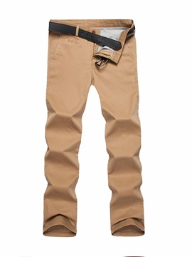 Men's Solid Color Long Legs Regular Fit Mid Waist Casual Pants